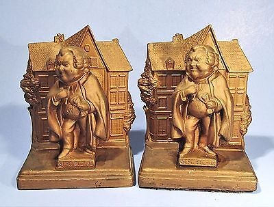 Rare Charles Dickens Sgt Buzfuz Vintage Jennings Brothers Jb Gilt Metal Bookends