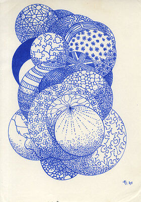 Set of Three Contemporary Pen and Ink Drawing - Circular Designs