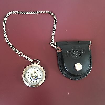 Royal Hong Kong Police Pocket Watch in Leather Pouch 1997 Memorabilia