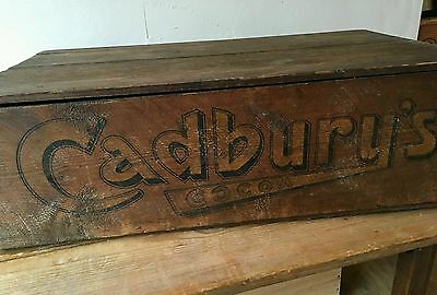 Vintage Cadbury's Cocoa Chocolate Shop Advert Display Wooden Sweet Box Crate