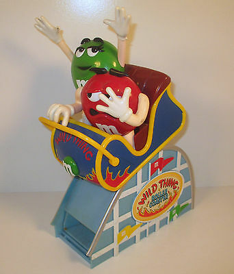 """11"""" Red & Green M&M's Plastic Wild Thing Roller Coaster Candy Dispenser"""
