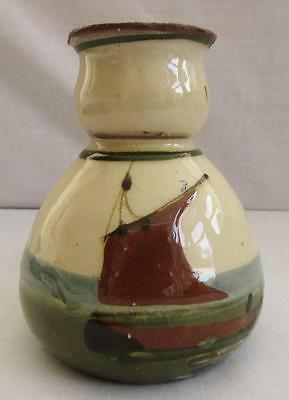 Torquay Devon Pottery Motto Ware Sailing Boat Vase Promise Little And Do Much