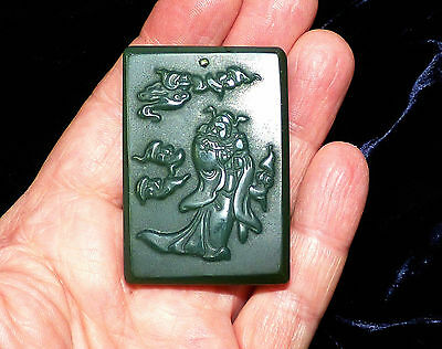VINTAGE GREEN CHINESE TABLET PENDANT. ORIENTAL DESIGN 55mm x  40mm