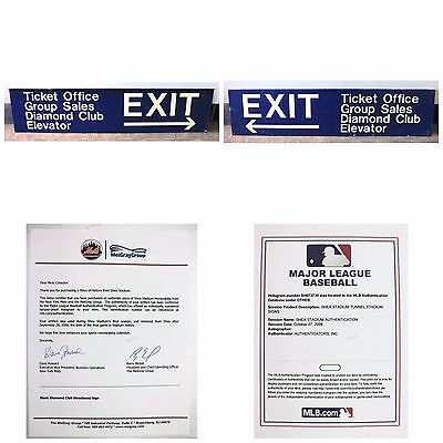 """Authentic New York Mets Shea Stadium 60"""" x 14"""" Exit Sign with Paperwork"""