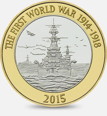 2015 - £2 -The First World War 2015 2 pound coin The Royal Navy. very rare