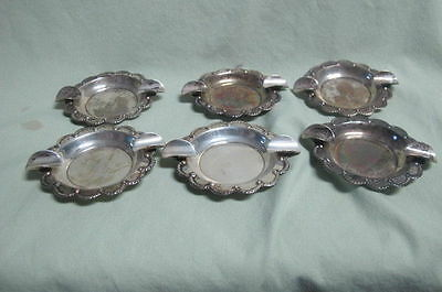 Vintage Lot of 6 Mexico  Sterling Silver Ash trays