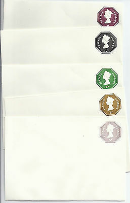 gb stationery: QE11 5 embossed sto envelopes fine mint