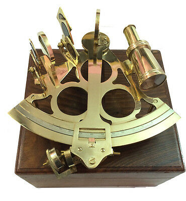 "8"" Antique Maritime Brass Nautical Sextant Vintage Marine Ship Instruments w Box"
