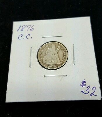 1876-CC 10C Seated Liberty Dime, Carson City Issue
