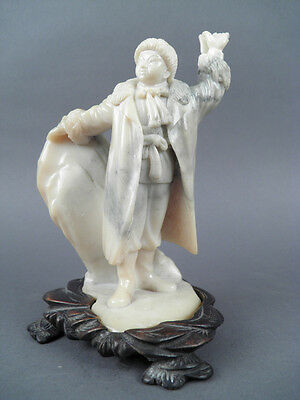 Fine Old Chinese 19th/20th Republic Carved Marble Figurine Sculpture Scholar Art
