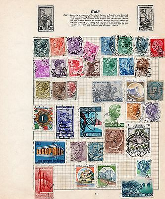Sheet of used ITALY stamps