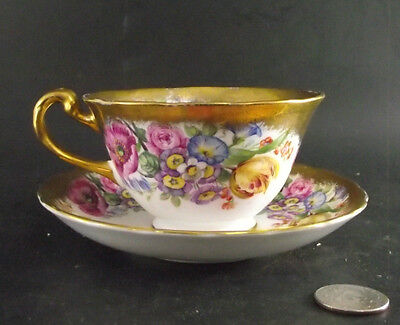 Royal Chelsea Floral With Heavy Gold Gilt England Cabinet Tea Cup And Saucer