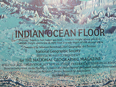 "Vintage 1967 National Geographic Map - Indian Ocean Floor - 19"" x 25"""