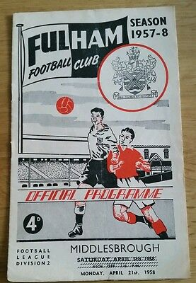 Fulham v Middlesbrough Programme 21/04/58