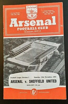 Arsenal v Sheffield United Programme 12/11/55