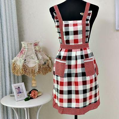 Women Lady Restaurant Home Kitchen For Pocket Cooking Cotton Apron Bib NEW Y2