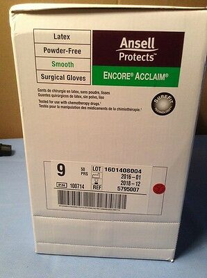 Ansell Encore Acclaim 9 Latex Powder Free Smooth Surgical Gloves Ref 5795007