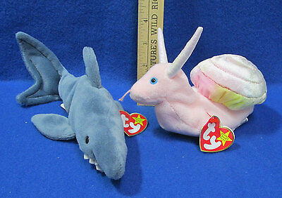 Ty Beanie Babies Stuffed Animal Shark Crunch 1996 Snail Swirly 1999