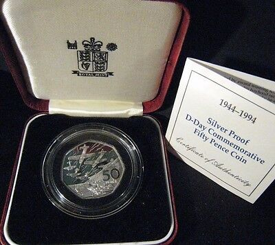 1994 Great Britain 50 Pence Silver Proof D-Day 1944    ** FREE U.S. SHIPPING **
