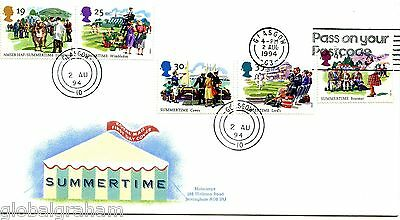1994 Summertime Great Britain Royal Mail Fdc Glasgow Cds +Postcode Slogan