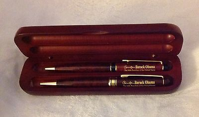 PRES OBAMA 57th INAUGURAL ETCHED WOOD BOX PEN HOLDER With TWO (2) PENS USA MADE