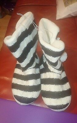 Ladies striped slipper boots. SIZE 7-8 new with tags