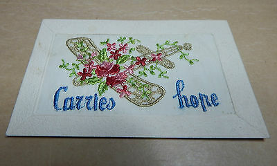WW1 Silk postcard Aeroplane with poppies carries hope with message to wife B2
