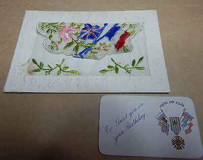 WW1 Silk postcards british & French flags from soldier with message to wife B2