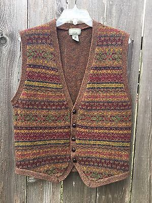 Vintage Men's CHRISTOPHER HAYES Fair Isle Pure WOOL Button Front Vest Sz L