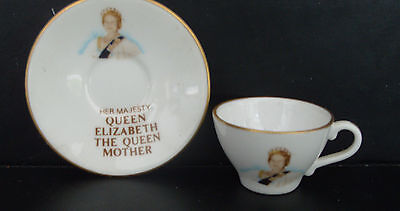 Caverswall miniature cup & saucer -80th birthday of Queen Mother 1980