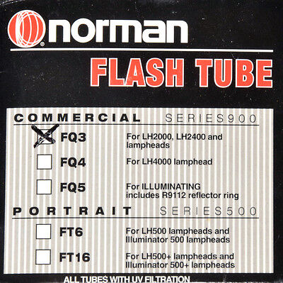Norman Flash Tube FQ3 UV Coated LH2000, LH2400 NEW