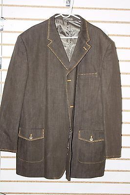 Men's Jean Suit by CDS Jeans Brown with Gold Stitching 4XL