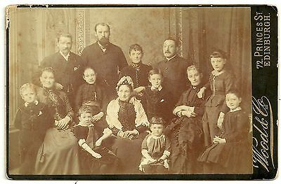 Victorian cabinet card  Large family group Edinburgh photographer
