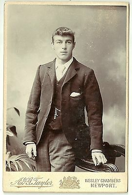Victorian cabinet card  photo young man Newport S Wales photographer