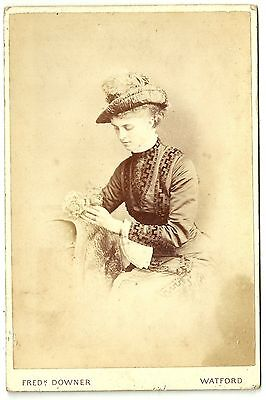 Victorian cabinet card  young woman & flowers Watford photographer
