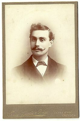 Victorian cabinet card photo young man with moustache Croydon photographer