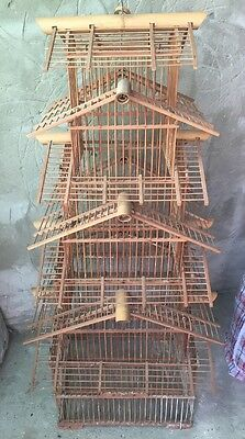 Vintage large Bird Cage , chinese style, bamboo