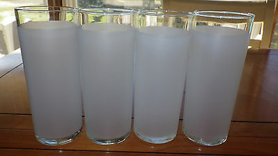 Libbey Frosted White Tom Collins Ice Tea Glasses 4 12 oz flat bottom glasses