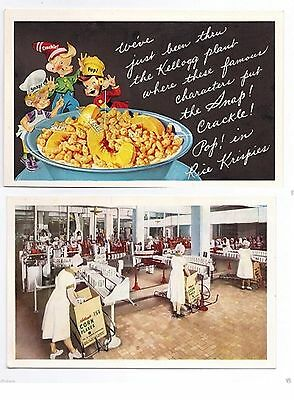 KELLOGG'S CEREAL Postcard Lot of 2 RICE KRISPIES Snap Crackle & Pop Corn Flakes