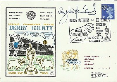 1972 DERBY COUNTY v BENFICA, EC cover, ORIGINALLY SIGNED by ROY McFARLAND!