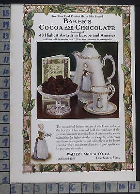 1907 Bakers Chocolate Cocoa Dorchester Food Kitchen Cook Vintage Ad  Dh37