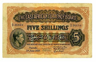 East Africa ... P26Ab ... 5 Shillings ... 1-6-1939 ... *F-VF*