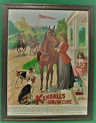 Antique Framed 1906 Kendall's Spavin Cure Advertisement - Beautiful Full Color