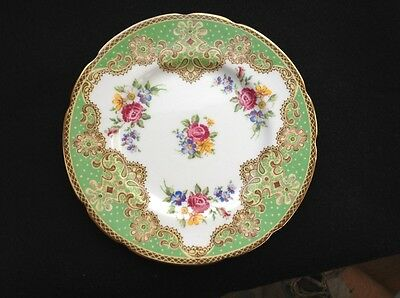 Vintage Green Paragon fine bone china side plate, Honiton. Marked EH