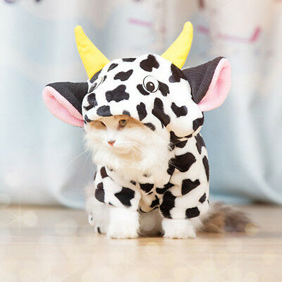 Cow Costume Cat Clothing Pet Jumpsuit Hoodie for Small Kittens Warm Sweater M