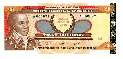 Haiti ... P-271A ... 20 Gourdes ... 2001 ... *UNC* ... Low Serial From 1st Pack