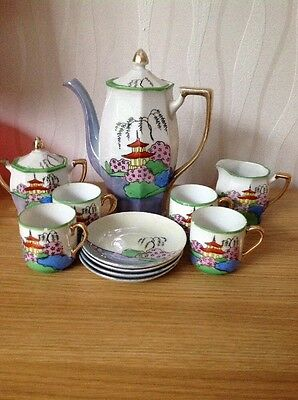 JAPANESE 'Hand Painted' Lustreware Coffee Set, Good Vintage Condition.