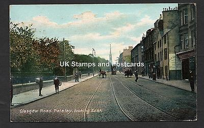 1906 Glasgow Road Paisley Looking East Tram Etc Posted Card See Scans For Detail