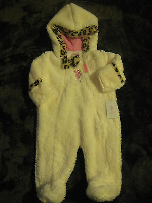 Baby Girl Hooded PLUSH Pajamas Bunting Snowsuit Us Polo Assn Size 6-9 Months NWT