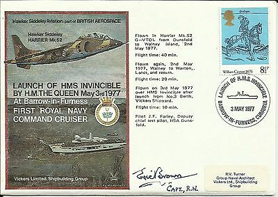 1977 HMS Invincible Cover, ORIGINALLY SIGNED by ERIC 'Winkle' BROWN!